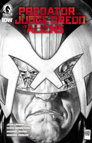 PREDATOR VS JUDGE DREDD VS ALIENS #1 FABRY PENCILS 1 IN 10 INCENTIVE VARIANT COVER
