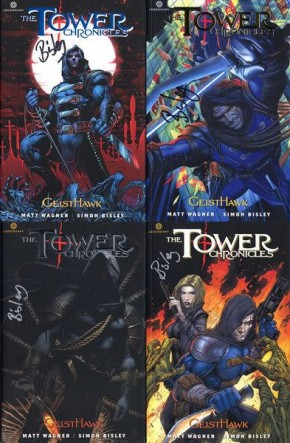 TOWER CHRONICLES VOLUMES 1-4 SIGNED BY ARTIST SIMON BISLEY + SIGNED LIMITED ART PRINT