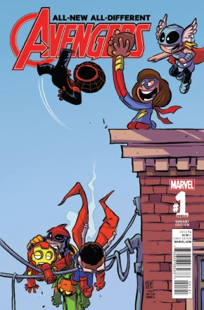 ALL NEW ALL DIFFERENT AVENGERS ANNUAL #1 SKOTTIE YOUNG BABY VARIANT COVER