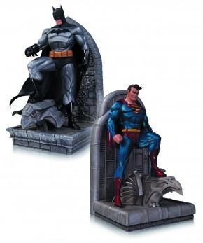 DC COMICS SUPERMAN AND BATMAN BOOKENDS STATUES