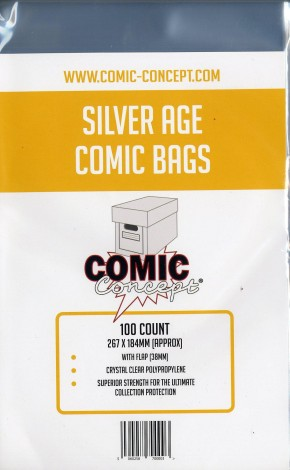 PACK OF 100 COMIC CONCEPT SILVER AGE COMIC BAGS FOR COMICS AND GRAPHIC NOVELS