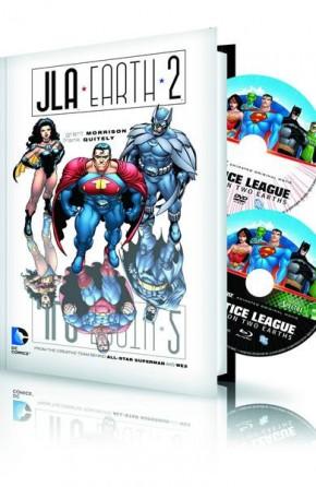 JLA EARTH 2 HARDCOVER AND DVD BLU RAY SET