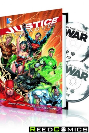 Justice League Volume 1 Origin Hardcover and DVD Blu Ray Set