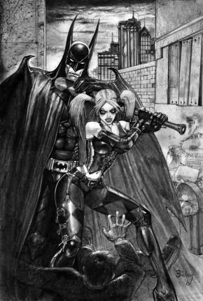 Simon Bisley Original Comic Art - Batman and Harley Quinn Pencil Art
