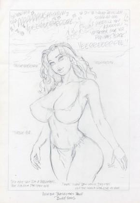 BUDD ROOT ORIGINAL COMIC ART - CAVEWOMAN DELETED BEATLES STORY PAGE PRELIM Comic Art