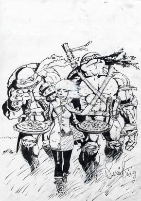 Simon Bisley Original Comic Art - Teenage Mutant Ninja Turtles #45 Motor City Black/White Original Cover Art